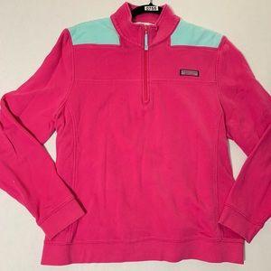 Vineyard Vines Pink Half Zip Cotton Pullover